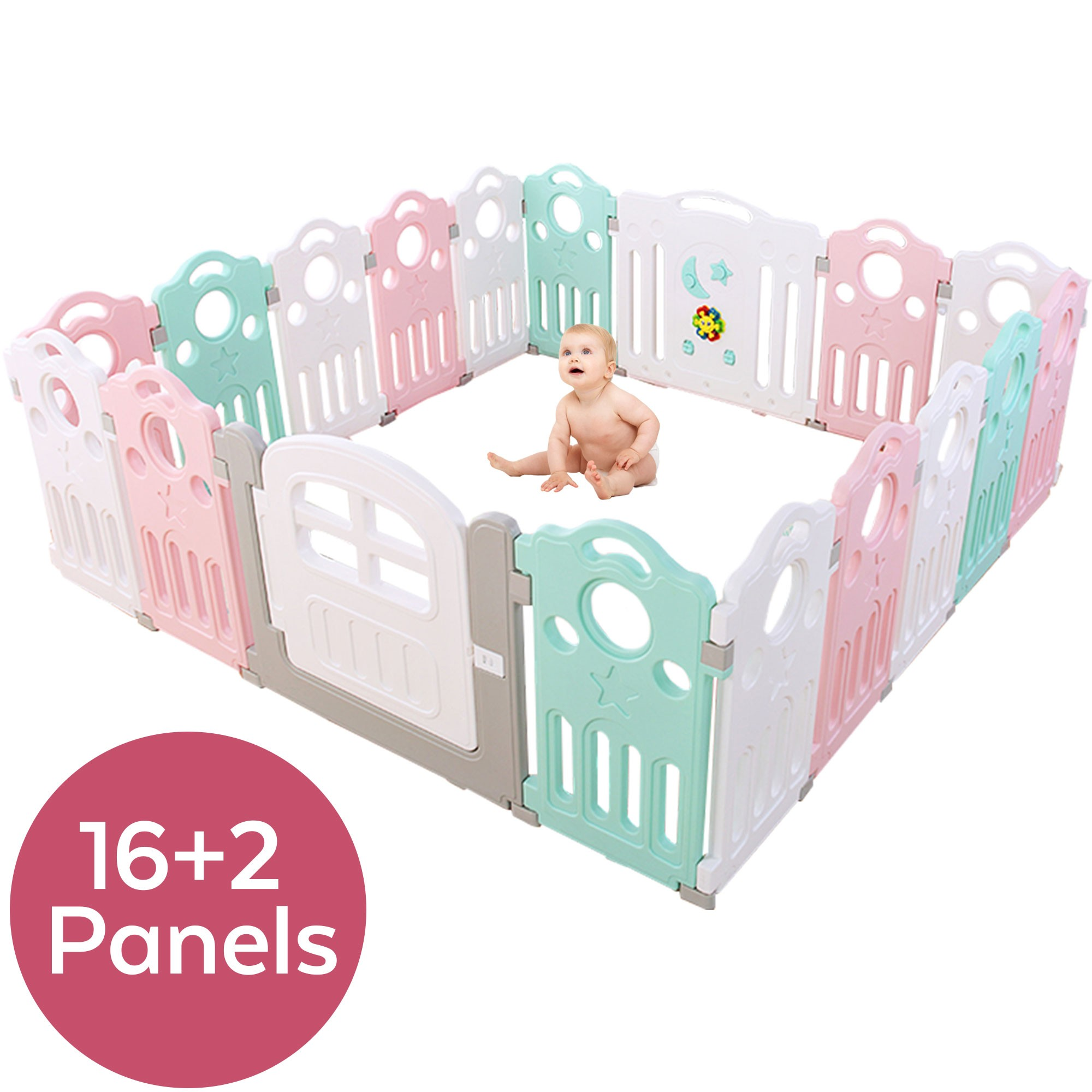 Durable and Breathable Non-Toxic Folding Fence KOOU-playpen Square Indoor and Outdoor Portable Baby Fence Playground Infant Crawling Safety Fence