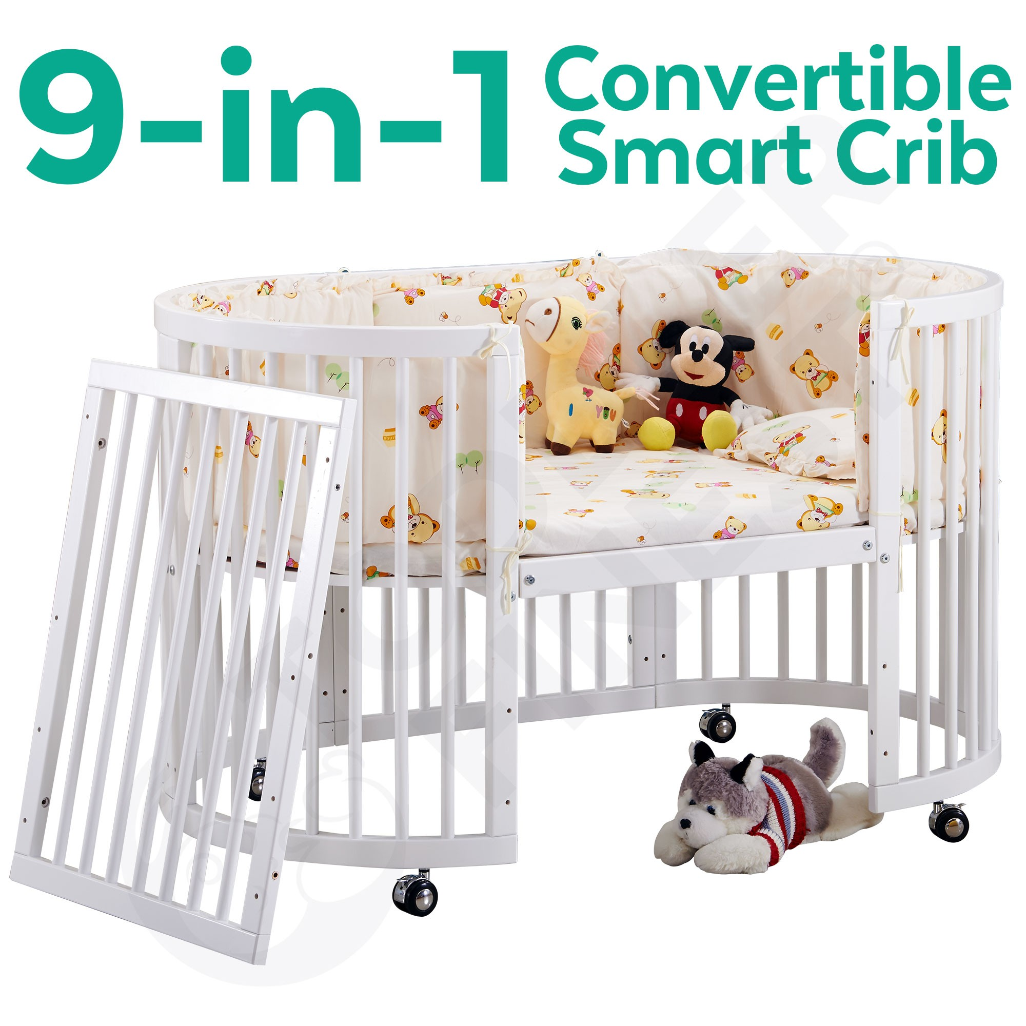 Get 20 Off 9 In 1 Convertible Baby Crib Infant Round Bed Side Bed Oval Cot